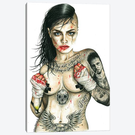 Fight Club Girl Canvas Print #IIK13} by Inked Ikons Canvas Wall Art