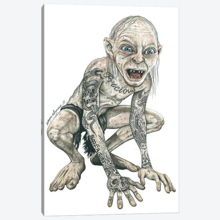 Gollum Canvas Print #IIK18} by Inked Ikons Canvas Wall Art