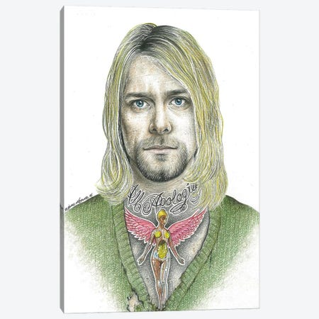 Kurt Cobain Canvas Print #IIK25} by Inked Ikons Canvas Artwork
