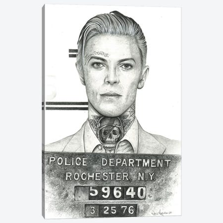 Mugshot Bowie Canvas Print #IIK29} by Inked Ikons Art Print