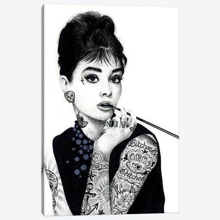 Audrey Hepburn Canvas Print #IIK3} by Inked Ikons Art Print