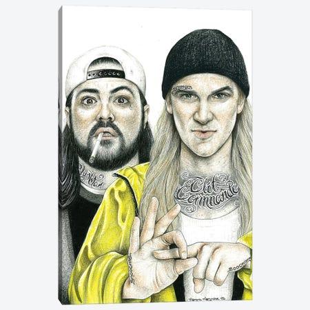 Jay & Silent Bob Canvas Print #IIK50} by Inked Ikons Canvas Artwork