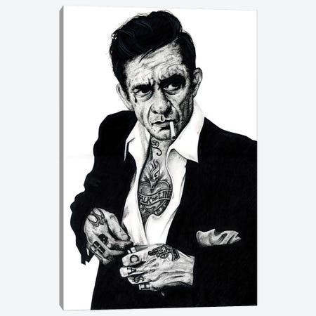 Johnny Cash Canvas Print #IIK51} by Inked Ikons Canvas Artwork