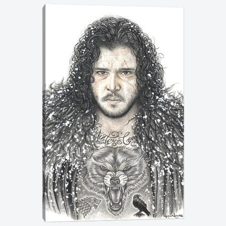 GOT Jon Snow Canvas Print #IIK58} by Inked Ikons Canvas Wall Art
