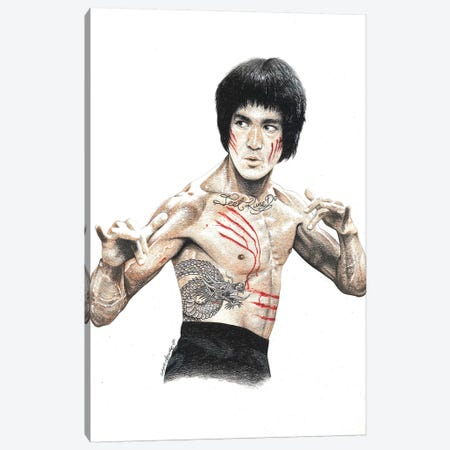 Bruce Lee Canvas Print #IIK7} by Inked Ikons Canvas Wall Art