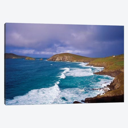 Co Kerry, Dingle Peninsula, Dunmore Head, And Blasket Islands 3-Piece Canvas #IIM24} by Irish Image Collection Canvas Art