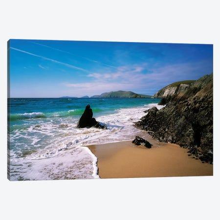 Dingle Peninsula, Slea Head,Coumenoole Beach, Blasket Islands Background,Co Kerry,Ireland. Canvas Print #IIM32} by Irish Image Collection Canvas Wall Art