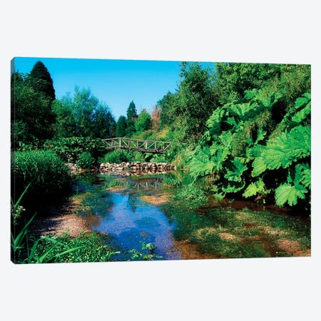 Annes Grove Gardens, Co Cork, Ireland, Rustic Bridge Over The River During Summer Canvas Print #IIM3} by Irish Image Collection Canvas Print