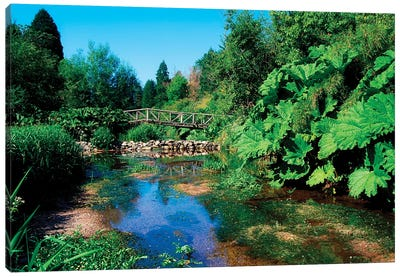 Annes Grove Gardens, Co Cork, Ireland, Rustic Bridge Over The River During Summer Canvas Art Print