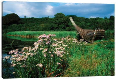 Irish National Heritage Park, Ferrycarrig, County Wexford, Ireland; Viking Longship Canvas Art Print
