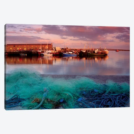 Kilronan Pier, Inishmore, Aran Islands, County Galway, Ireland; Docked Boats And Fishing Nets Canvas Print #IIM61} by Irish Image Collection Art Print