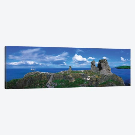 Black Castle, Wicklow Head, Co Wicklow, Ireland, 12Th Century Castle And Tall Ship In The Distance Canvas Print #IIM7} by Irish Image Collection Canvas Art
