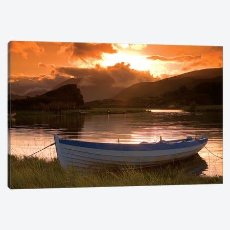 Upper Lake, Killarney National Park, County Kerry, Ireland; Boat At Sunset Canvas Print #IIM80} by Irish Image Collection Canvas Print