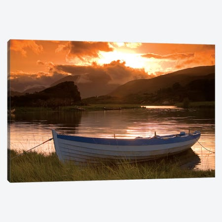 Upper Lake, Killarney National Park, County Kerry, Ireland; Boat At Sunset Canvas Print #IIM80} by Irish Image Collection Canvas Print