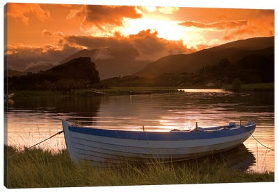 Upper Lake, Killarney National Park, County Kerry, Ireland; Boat At Sunset Canvas Art Print