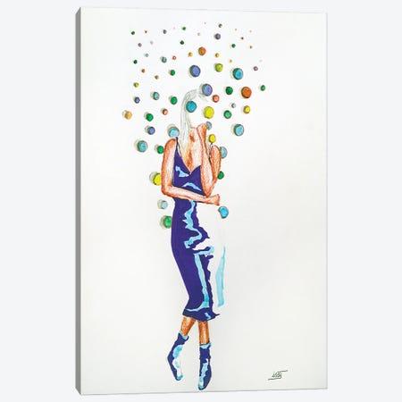 Bubble À La Robe Bleue Canvas Print #IJO56} by Isabelle Joubert Art Print