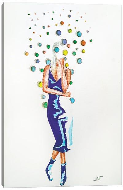 Bubble À La Robe Bleue Canvas Art Print