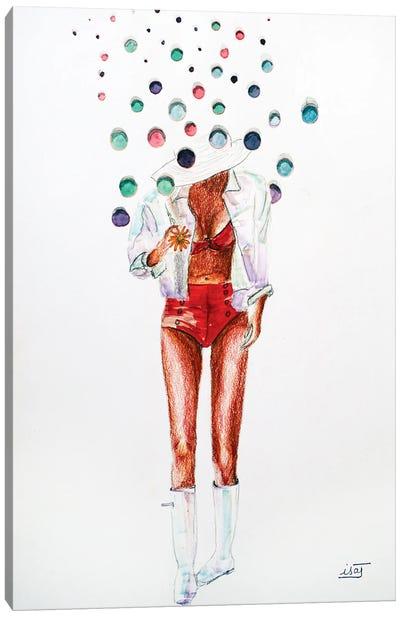 Bubble Aux Bottes Et Maillot Rouge Canvas Art Print