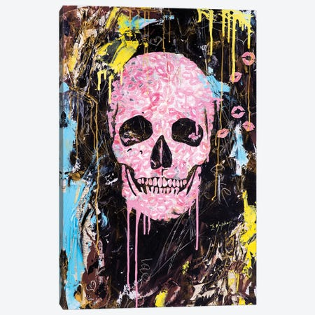Skull Kiss Canvas Print #IKA15} by Iness Kaplun Canvas Art