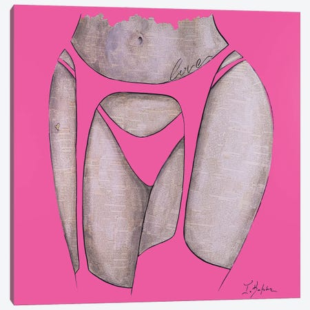 Sassy Girl Pink Canvas Print #IKA17} by Iness Kaplun Canvas Wall Art