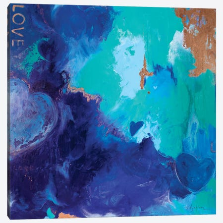 Blue Shades Of Love Canvas Print #IKA29} by Iness Kaplun Canvas Artwork
