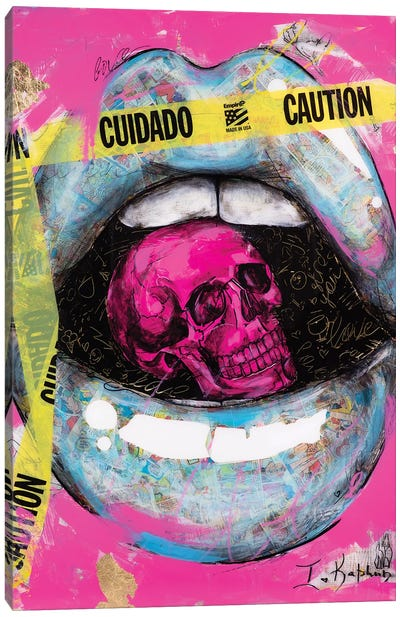 Caution Lips Canvas Art Print