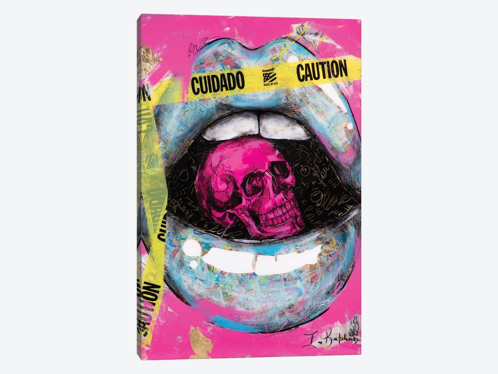 Caution Lips by Iness Kaplun 1-piece Canvas Print