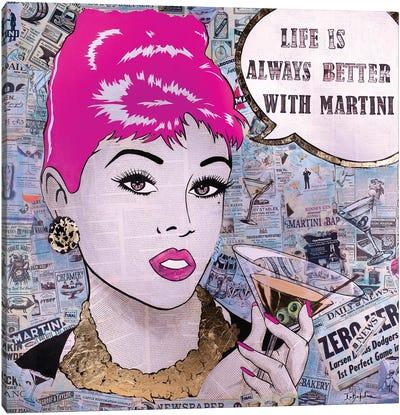 Girl with Martini Canvas Art Print