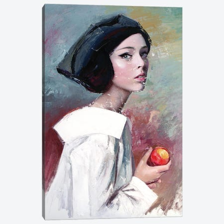 Young Woman Eating A Peach (L'une 91) Canvas Print #ILC20} by Catalin Ilinca Canvas Art Print