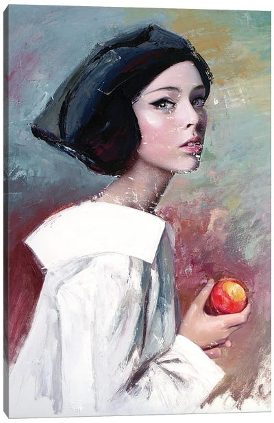 Young Woman Eating A Peach (L'une 91) Canvas Art Print
