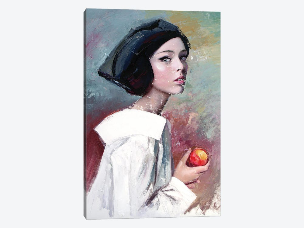 Young Woman Eating A Peach (L'une 91) by Catalin Ilinca 1-piece Canvas Wall Art
