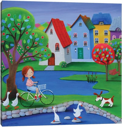 At The Duck Pond Canvas Art Print