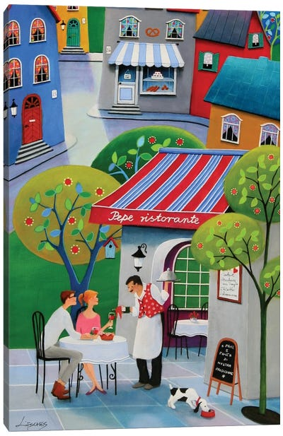 Italian Lunch At Pepe's Canvas Art Print