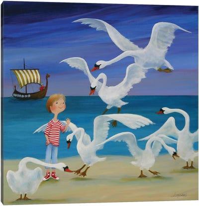 Enchanted Swans Canvas Art Print