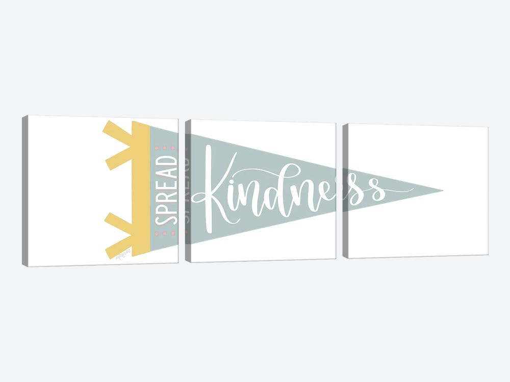 Spread Kindness Pennant by Imperfect Dust 3-piece Canvas Artwork