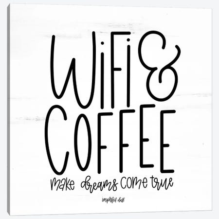 WIFI & Coffee Canvas Print #IMD37} by Imperfect Dust Art Print