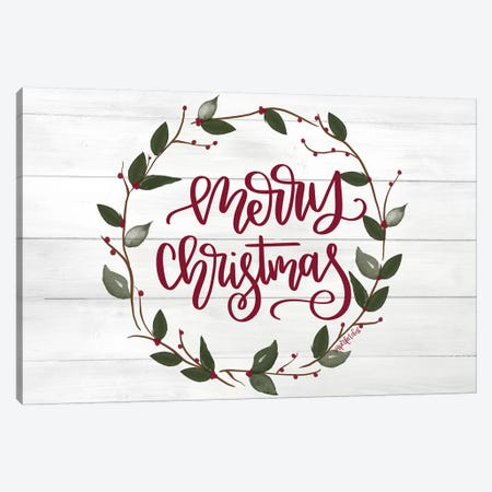 Christmas Wreath Canvas Print #IMD50} by Imperfect Dust Canvas Art