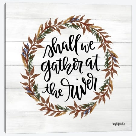 Gather at the River Wreath 3-Piece Canvas #IMD52} by Imperfect Dust Canvas Art