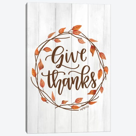 Give Thanks Wreath Canvas Print #IMD53} by Imperfect Dust Canvas Artwork