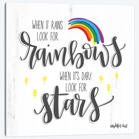 Rainbows and Stars Canvas Print #IMD9} by Imperfect Dust Canvas Wall Art