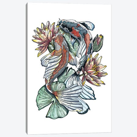 Koi Fishes And Waterlilies I Canvas Print #IMN10} by Irene Meniconi Canvas Artwork