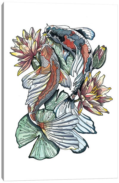 Koi Fishes And Waterlilies I Canvas Art Print