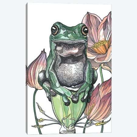 Tree Frog And Lotus Canvas Print #IMN19} by Irene Meniconi Canvas Wall Art