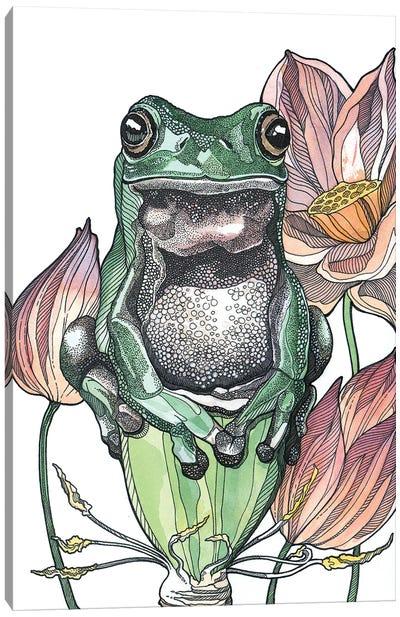 Tree Frog And Lotus Canvas Art Print