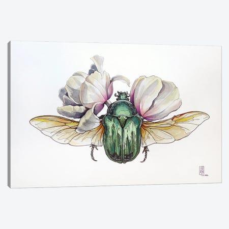 Cetonia Aurata And Tulips Canvas Print #IMN20} by Irene Meniconi Canvas Art Print