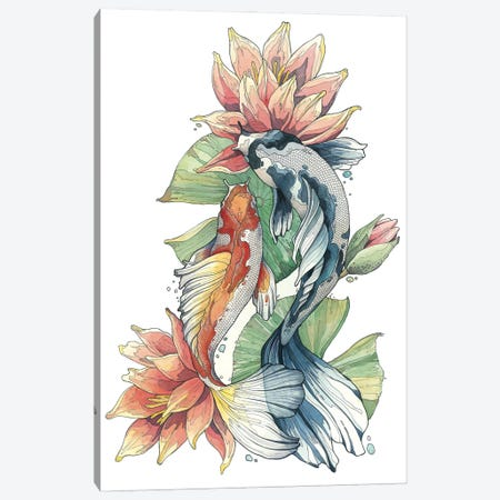 Koi Fishes And Waterlilies Canvas Print #IMN3} by Irene Meniconi Canvas Art