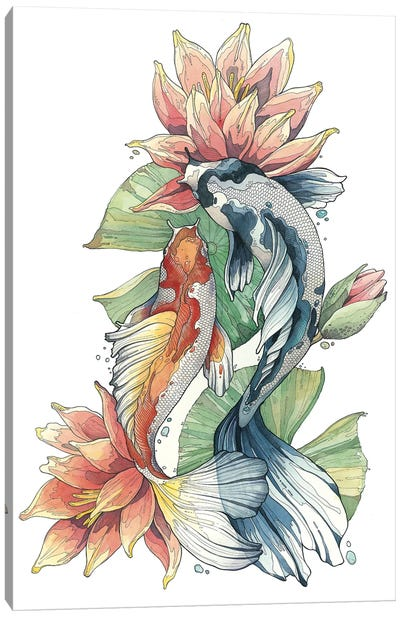 Koi Fishes And Waterlilies Canvas Art Print