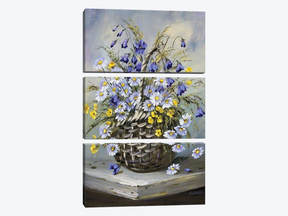 Colourful Basket by Katharina Schöttler 3-piece Canvas Wall Art