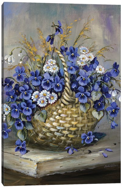 Basket In Blue Canvas Art Print