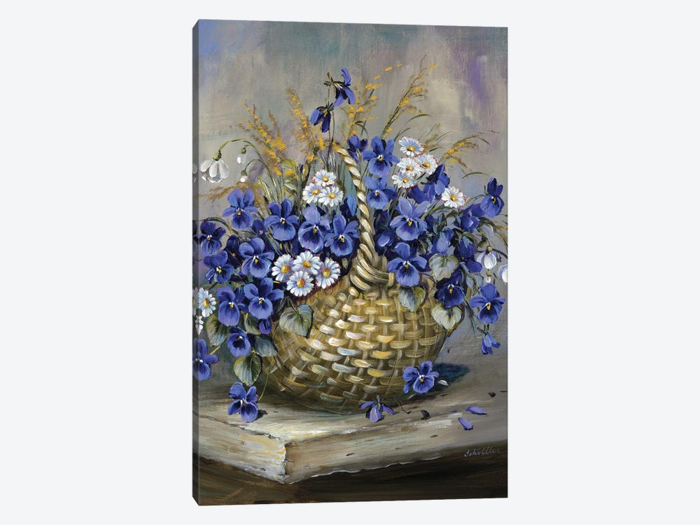 Basket In Blue by Katharina Schöttler 1-piece Canvas Print